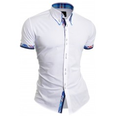 D&R Fashion Casual Shirt slim fit short sleeve blue check finish