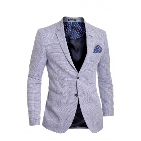Mens Blazer Jacket Casual Formal Check Pattern Contrast Buttons  Blazers