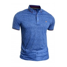 Mens Casual Polo T Shirt UK Size Thin Soft Cotton Blue Badge Clips