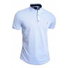 Men's Casual Grandad Collar Polo T Shirt UK Size Short Sleeve 100% Cotton