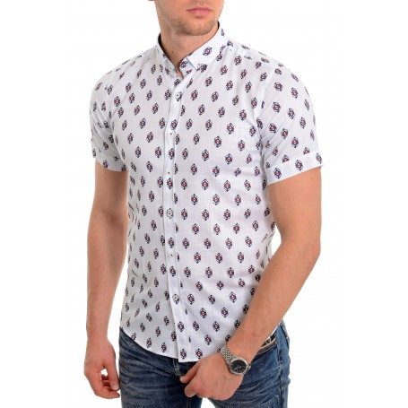 333a2da6e Men's casual summer shirt Soft Linen look Cotton Short Sleeve Diamond  Pattern Casual and Formal Shirts