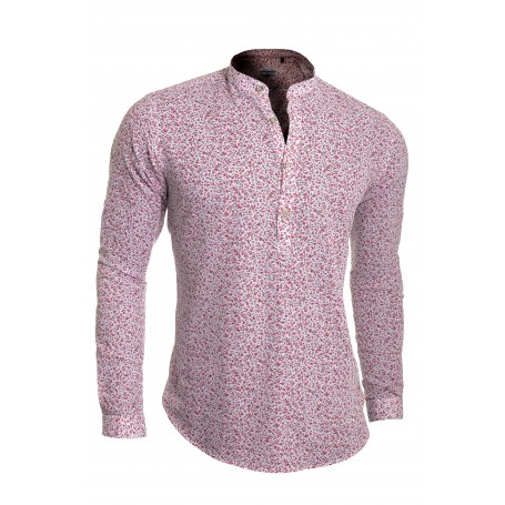 Men's White Casual Grandad Shirt Henley Soft Linen Slim Fit Long Sleeve Shamrock  Casual and Formal Shirts