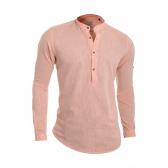 Men's Casual Henley Shirt Grandad Cotton Linen Slim Fit Long Sleeve Vivid Colour  Casual and Formal Shirts