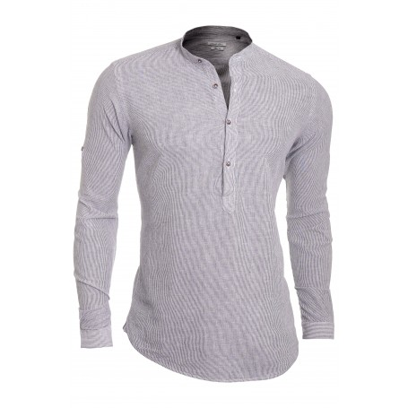 Men's Casual Henley Shirt Grandad Stand-up Collar Cotton Linen Slim Roll Sleeve  Casual and Formal Shirts