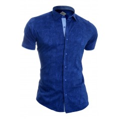 Men's Summer Short Sleeve Shirt Classic Collar Cotton Washout Argyle finish  Casual and Formal Shirts