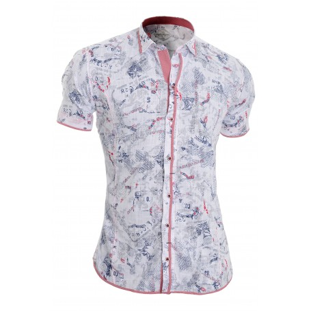 9cdfb64a7c3 Mens Short Sleeve Shirt White Classic Collar 100% Cotton Chequered Trim  Slim Casual and Formal