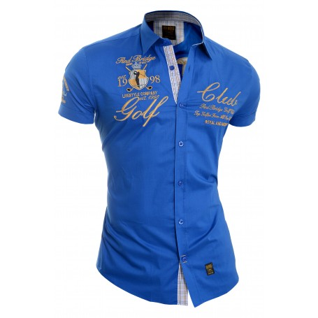 Redbrige Men's Designer Embroidered Shirt Short Sleeve Classic Collar Gold Trim  Casual and Formal Shirts