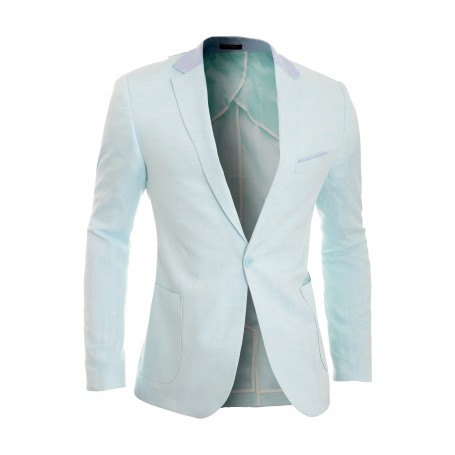 58b6d9dc3691 Cipo   Baxx Mens Linen Blazer Jacket Casual Formal Elbow Patches Slim Fit  Summer Blazers