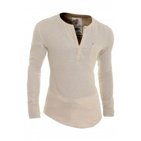 Men's Casual V Neck Canvas Shirt Henley Summer 100% Cotton Slim Fit Long Sleeve  Casual and Formal Shirts