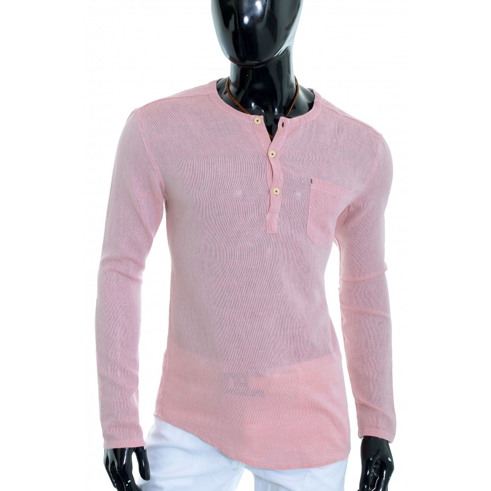 fcf08b4aacac ... Men s Casual V Neck Canvas Shirt Henley Summer 100% Cotton Slim Fit  Long Sleeve Casual ...