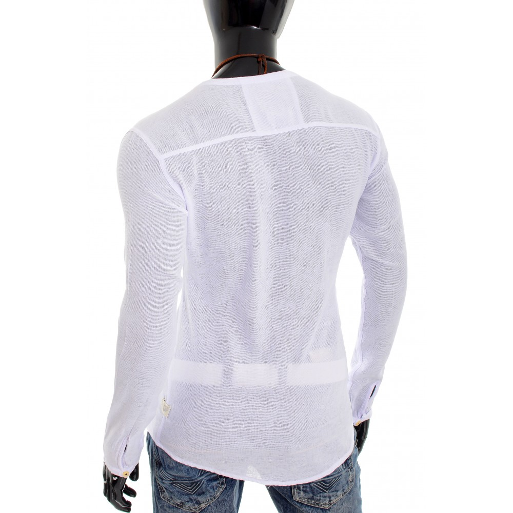 6af18c10a095 ... Men s Casual V Neck Canvas Shirt Henley Summer 100% Cotton Slim Fit  Long Sleeve Casual