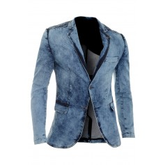 Men's Denim Blazer Jacket Dark Blue Slim Fit Marble Print Cotton Ribbed Arms  Blazers