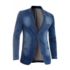 Men's Thick Denim Blazer Jacket Light Blue Slim Fit Rich Cotton Brown Stitching  Blazers