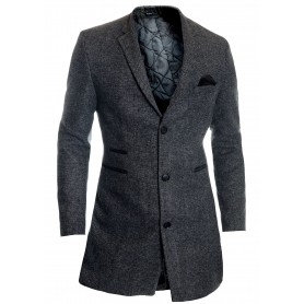 Mens Winter Over Coat 3/4 Long Jacket Suede Finish Tweed Cashmere   Jackets and Coats
