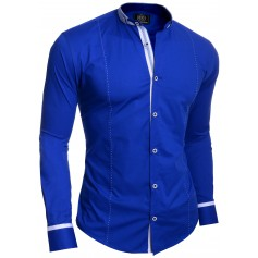 Mens Casual Shirt Grandad Band Collar Slim Fit Cotton White Royal Blue Finish
