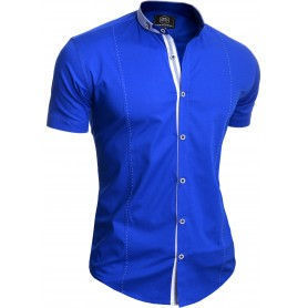 Men's Elegant Short Sleeve Shirt Smart Grandad Collar Cotton White Royal Blue
