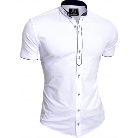 Men's Royal Blue Short Sleeve Shirt Elegant Grandad Collar Cotton White Cuffs UK  Casual and Formal Shirts
