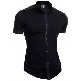 Men's Casual Short Sleeve Shirt Metal Snaps Button Loops Cotton Leather Like Slim