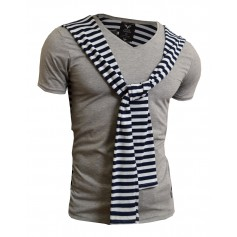 Horizotal Stripes Shawl On Front T-Shirt